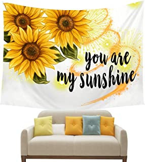 NIDITW Summer Holiday Decor Sunshine Yellow Sunflower With Quote You Are My Sunshine White Tapestry Backdrop Wall Hanging Blanket for Bedroom Living Room Dorm 60 X 40 Inches