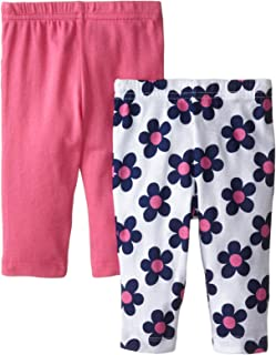Gerber Baby-Girls Newborn 2 Pack Pant with Bow, Pink, -3 Months
