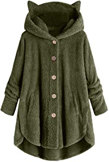 Aniywn Winter Outwear Tops For Women, Plus Size Casual Plush Pocket Button Hoodie Sweatshirt Pullover Blouse