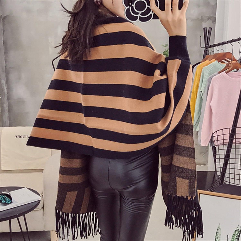 ZHANGYONG Tassel Knitted Cardigan BianFuShan Cloak Cloak Shawls Coat AllMatch Loose Sweater Girl Autumn and Winter,F,Khaki