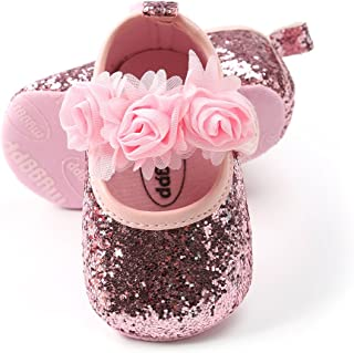 Baby Infant Girls Soft Sole Floral Princess Mary Jane Shoes Prewalker Wedding Dress Shoes