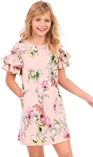 Big Girls' Printed Knit Dress with Short Ruffle Sleeves, Size 7-16