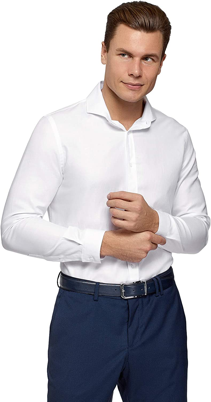 oodji Ultra Men's Basic Cotton Shirt, White, 14,5