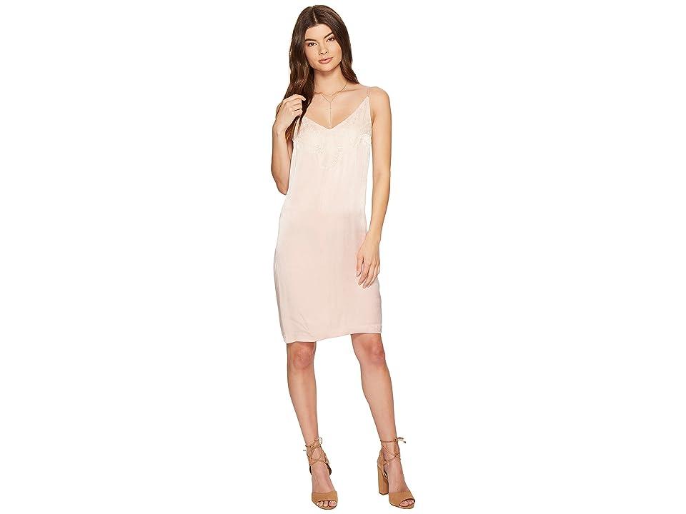 1.STATE Spaghetti Strap Shift Dress w/ Lace (Rosy Flush) Women