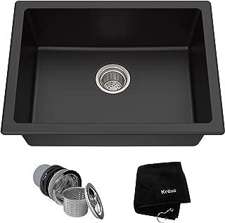 Kraus KGD-410B 24 2/5 inch Dual Mount Single Bowl Black Onyx Granite Kitchen Sink