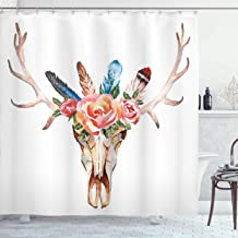 Ambesonne Antler Decor Shower Curtain, Bohemian Deer Head Skull Decorated with Roses and Feathers Hand Drawn Art, Fabric Bathroom Decor Set with Hooks, 75 Inches Long, Multicolor
