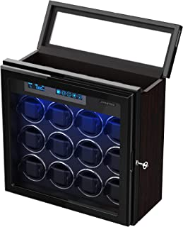 Watch Winder for 12 Automatic Watches, with 6 Storage Spaces, Adjustable Watch Pillows for Universal Watch, Wooden Shell, Built-in Blue LED Illumination, Ultra-Silence