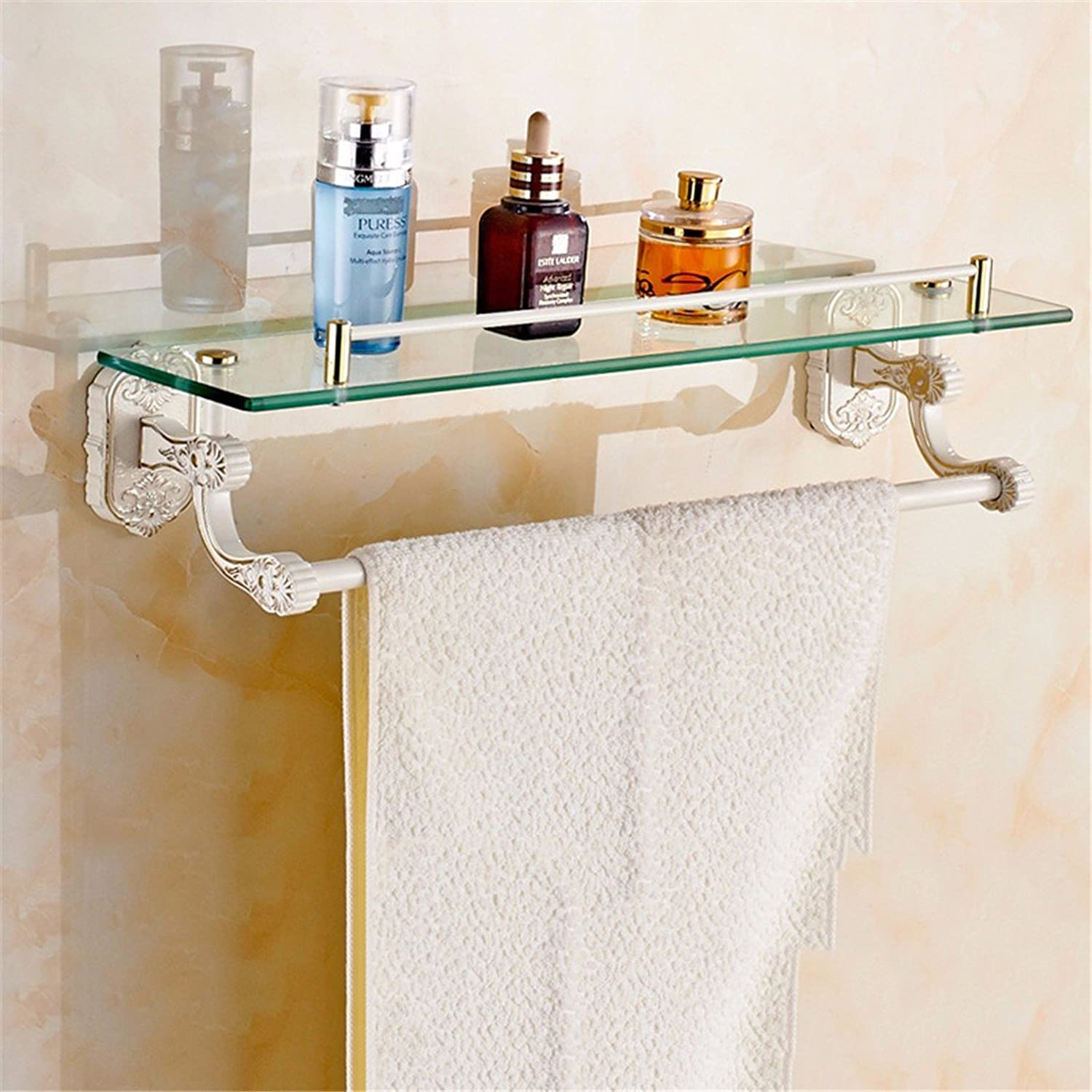 LAONA European zinc alloy white country carved base, bathroom fittings, soap box, single and double rod,Shelf 1 B