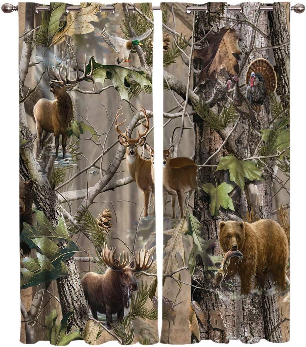 Window Panel Curtain Sets 格安 Realtree Camo Rustic 新生活 Bird Deer Elk Be