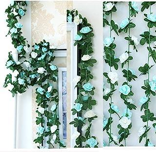LumenTY 2 paquetes de flores artificiales de 2.5 m Vine Rose Garland Seda Flores falsas Decoración colgante para Oficina del hotel Jardín Fiesta casera Boda Festival Decoración - Azul y Blanco