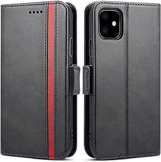 iPhone 11 ケース 手帳型 アイフォン11ケース - Rssviss サイドマグネット カード収納 Qi充電対応 横置き機能 高級PUレザー 11カバー 財布型 (iPhone 11用、6.1in) W5 ブラック