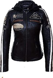 Urban Leather Chaqueta Moto Mujer de Cuero '58 LADIES', Chaqueta Cuero Mujer, Cazadora Moto de Piel de Cordero, Armadura R...