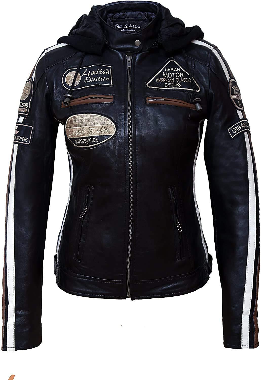 Ladies RUSH GREY Biker Jacket Short Real Lambskin Leather Designer Jacket