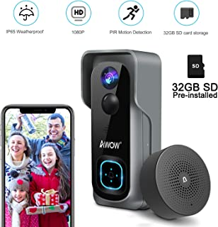 Doorbell Camera Video Doorbell Waterproof/1080P HD/32GB Micro SD Card/Night Vision/Two-Way Audio/160�Wide Angel/PIR Motion Detection for iOS & Android AWOW J1