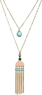 Fettero Long Gold Tassel Necklace 14K Pendant Bohe Handmade Jewelry Natural Stone Y Chain