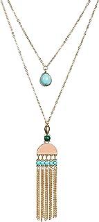 Fettero Long Gold Metal Tassel Necklace 14K Pendant Bohe Handmade Jewelry Natural Rose Quartz Stone Beads Double Layer Y C...