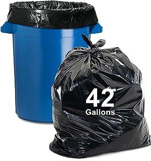 أكياس قمامة من 40 إلى 45 جالون، 25 قطعة، أكياس قمامة سوداء عالية الجودة للورق والبلاستيك والعلب والزجاجات والصحف والحديقة
