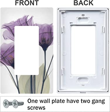 Tulip Wall Plate Purple Flower Switch Plate Light Switch Cover Decorative Outlet Cover for Living Room Bedroom Kitchen, 1 Gan