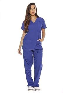 Just Love Women's Scrub Sets Six Pocket Medical Scrubs (V-Neck with Cargo Pant), Galaxy Blue, 2X