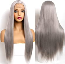 Giannay Gray Lace Front Wigs for Black Women Long Straight Synthetic Wigs 24 Inch Heat Resistant Hair Wigs with Baby Hair