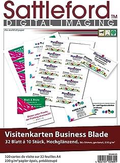 Inkjet /& Laser microperforiert 85 x 54 Visitenkarten Papier perforiert 250g//m/² Sattleford Visitenkartenpapier: 1.000 Visitenkarten
