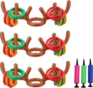 Suwimut 3 Player Inflatable Reindeer Antler Ring Toss Game, Inflatable Fun Toy Games with Air Pump for Kids Adults Christm...