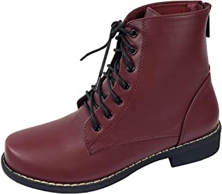 Harper Shoes Womens Combat Boots Military Lace Up with Rear Zipper