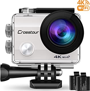 Crosstour WiFi Cámara Deportiva Acción 1080P Full HD 2.0 LCD Pantella Cámara Impermeable 2 Baterías 1050mAh 170 Grados Gran Ángulo Sumergible 30m y 20 Accesorios Multiples (4K 12MP)