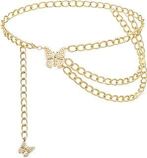 Lamdgbway متعدد الطبقات فراشة الخصر سلسلة الأزياء المعادن الجسم أحزمة مجوهرات للنساء الفتيات اللباس