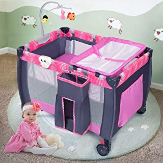 Costzon Baby Playard, 3 in 1 Convertible Playpen with Bassinet, Changing Table, Foldable Bassinet Bed with Music Box, Whirling Toys, Wheels & Brake, Large Capacity Basket, Oxford Carry Bag (Pink+Grey)
