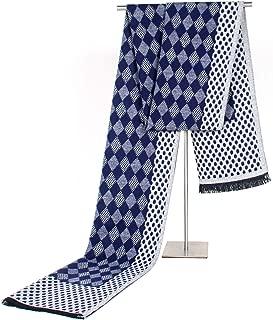 Scarf Male Business Imitation Cashmere Fall Winter New Diamond Lattice Scarf Leisure Tassel Warm Weather Warm` TuanTuan (Color : Navy)
