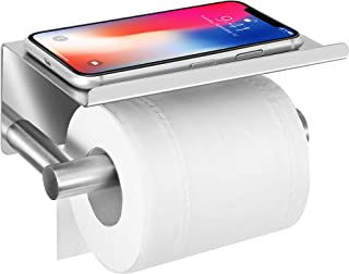 Best Upgrade Toilet Paper Holder with Anti-Drop Larger Phone Shelf,Self Adhesive Toilet Paper Roll Holder for Bathroom,Stainless Steel Tissue Paper Holder,Wall Mounted with Adhesive Pad or Screws,Brushed Review
