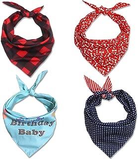 TRUE LOVE Dog Bandanas, 4PCS Triangle Bibs Reversible Plaid Printing Dog Kerchief Set, Scarfs Accessories for Small Medium Large Puppy Dogs Cats Pets Birthday Christmas Holiday
