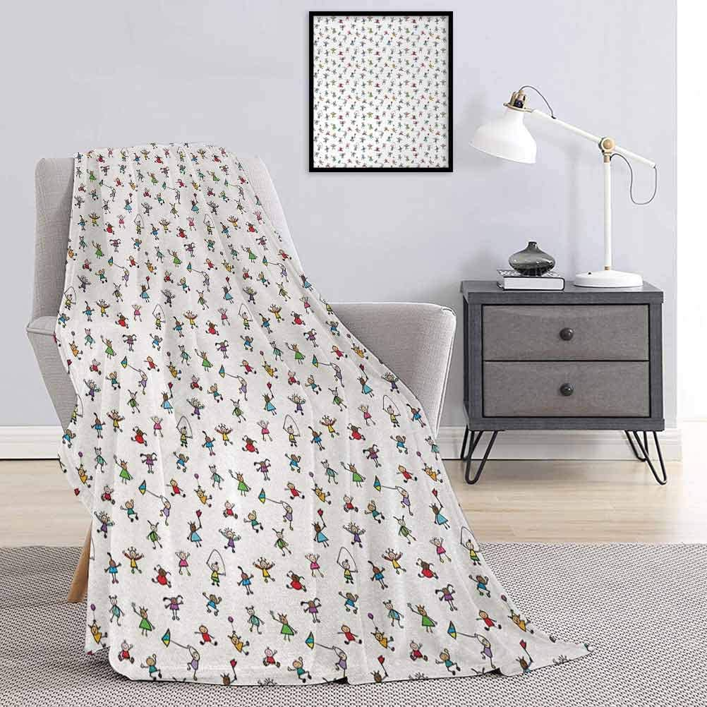 Colorful Throw Blanket Kids Max 61% OFF Playing Doodle Field Max 50% OFF The in
