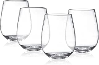 dba632756b1 MosesMo Premium Unbreakable Stemless Wine Glasses Set By Shatterproof  Reusable Plastic Wine Cups - Looks like
