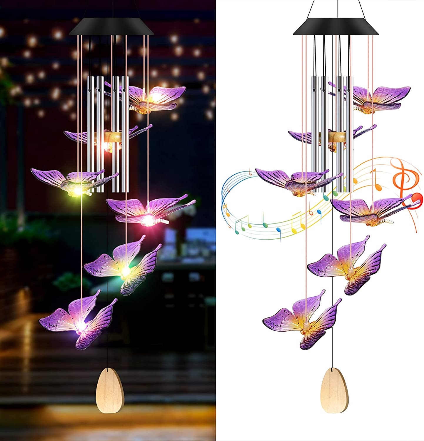 YNGRUE Solar Butterfly Wind Chimes, Outdoor Solar Wind Chime Colors Changing Six Butterfly Waterproof LED Decorative Patio Lights, Decor for Garden, Patio, Yard, Home Gifts for Mom Grandma