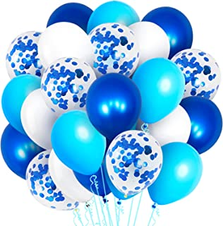 Blue and White Balloons for Party Decorations - Pack Of 60   Shades Of Blue Balloons, White, Light Blue, Navy Blue And Blu...