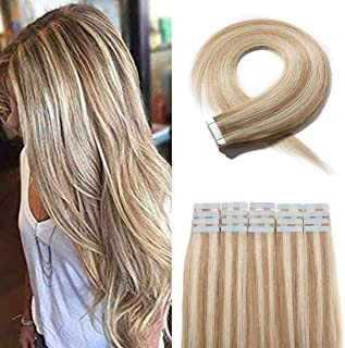 SEGO 40 Pieces Balayage Tape in Hair Extensions Human Hair Seamless Skin Weft Invisible Tape Hair Extensions Highlight Two Tone Straight Double Sided 16 inches #18P613 Ash Blonde&Bleach Blonde 100g