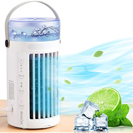 Portable Air Conditioner Quiet Fan, Personal Mini Ac Evaporative Cooler Fan with 8 Colors LED Light, 2 Fans and 3 Speeds, Small Desktop Cooling Humidifier Fan for Bedroom, Outdoor...