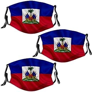 Haitian Flag (2) 3PCS Face Mask Bandana Scarf Reusable Adjustable for Outdoor Breathable Washable Balaclava