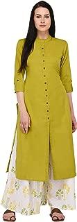 Pistaa's Cotton Flex Mehendi Green Kurta With Matching Palazzo set