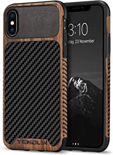 TENDLIN Compatible with iPhone Xs Case/iPhone X Case Wood Grain with Carbon Fiber Texture Design Leather Hybrid Slim Case ...