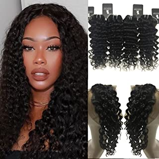 "Rissing Hair 360 Lace Frontal With Bundles, Brazilian Deep Wave 4 Bundles With 360 Free Part Lace Frontal Closure, Curly Weave Remy Bundles Deals (16""16""18""18"" with 360 frontal 14"", Remy Hair)"