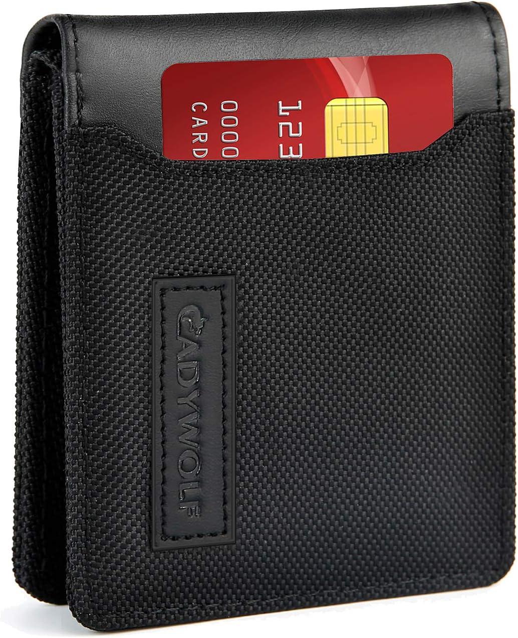 CADYWOLF Slim Wallets for Men, RFID Wallet with Money clip, Men's Wallet, Credit Card Holder for Men (BLACK)