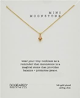 Dogeared Women's Mini Moonstone, Dotted Bezal Peach Moonstone Necklace