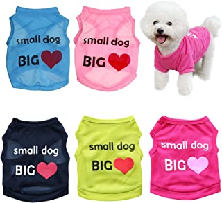 Set of 5 Dog Shirt for Small Dog Girl Puppy Clothes for Chihuahua Yorkies Bulldog Clothes for Medium Dogs Boy Summer Sweat...