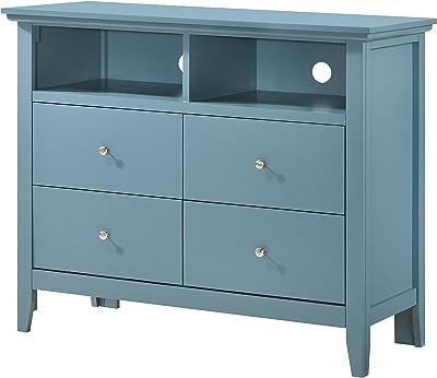 """Glory Furniture Hammond , Blue Media Chest, 36"""" H X 42"""" W X 18"""" D"""