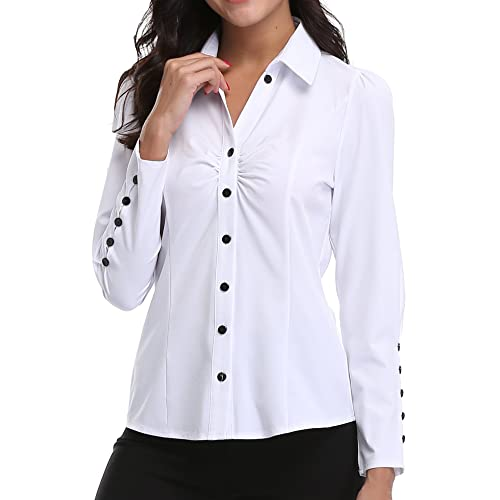 d9dde009430567 MISS MOLY Womens Long Sleeves Blouses V Neck Tops Ruched Front Buttoned  Down Workwear Formal Office