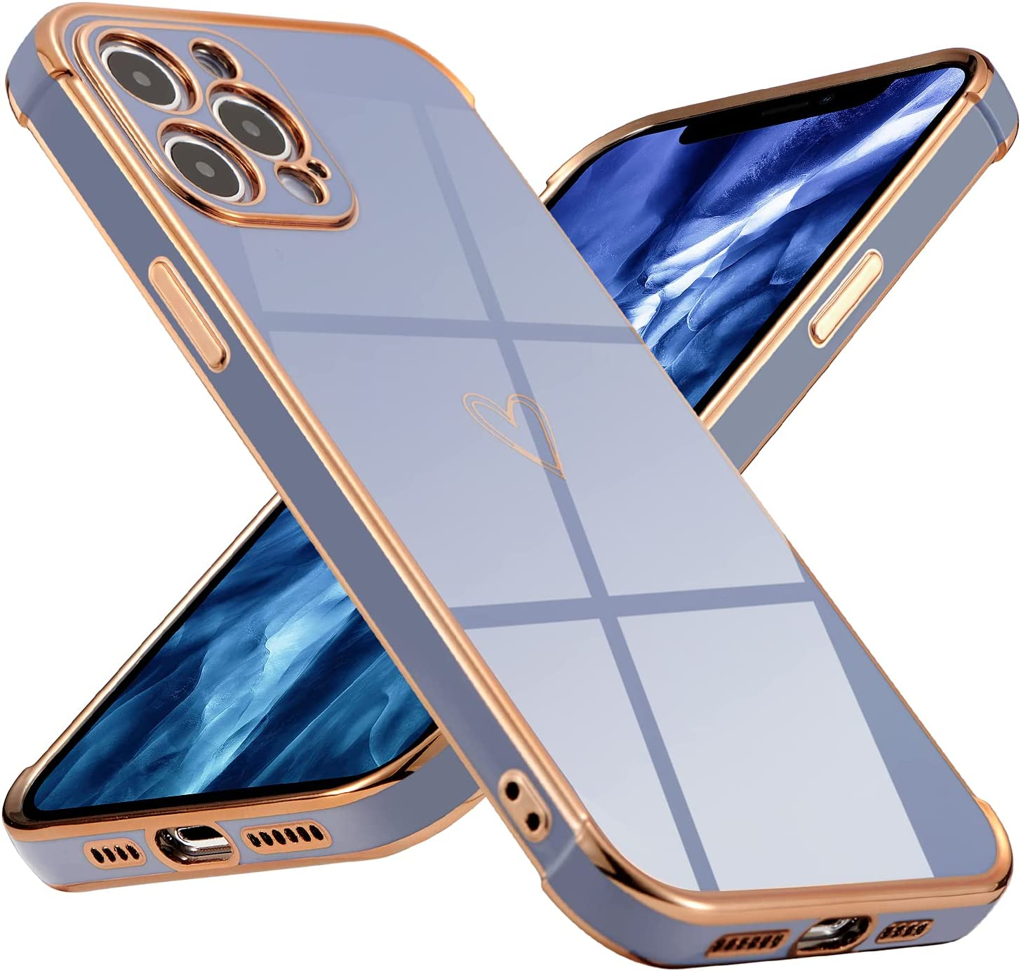 DEFBSC Electroplating Cute Case for iPhone 12 Pro, Soft TPU Bumper Protective Plating Case Clear Heart Case, Ultra Thin Anti-Scratch Shockproof Back Phone Shell Cover for iPhone 12 Pro 6.1