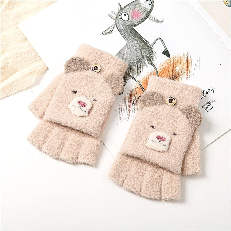 YSJJSQZ Winter Gloves Boys Gloves Children Girl Winter Half Finger Mittens Cover Cute Animal Warm Children Mittens Kids Girl Knitted Gloves 5-12 Years (Color : Khaki)